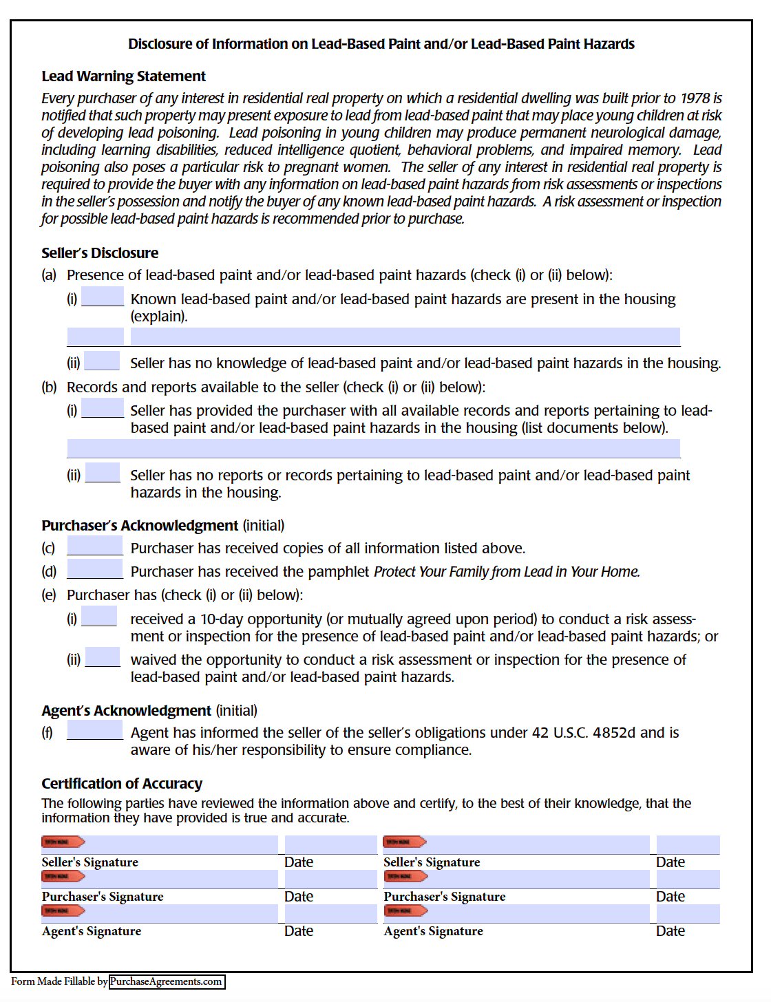Lead Based Paint Disclosure Form Pdf